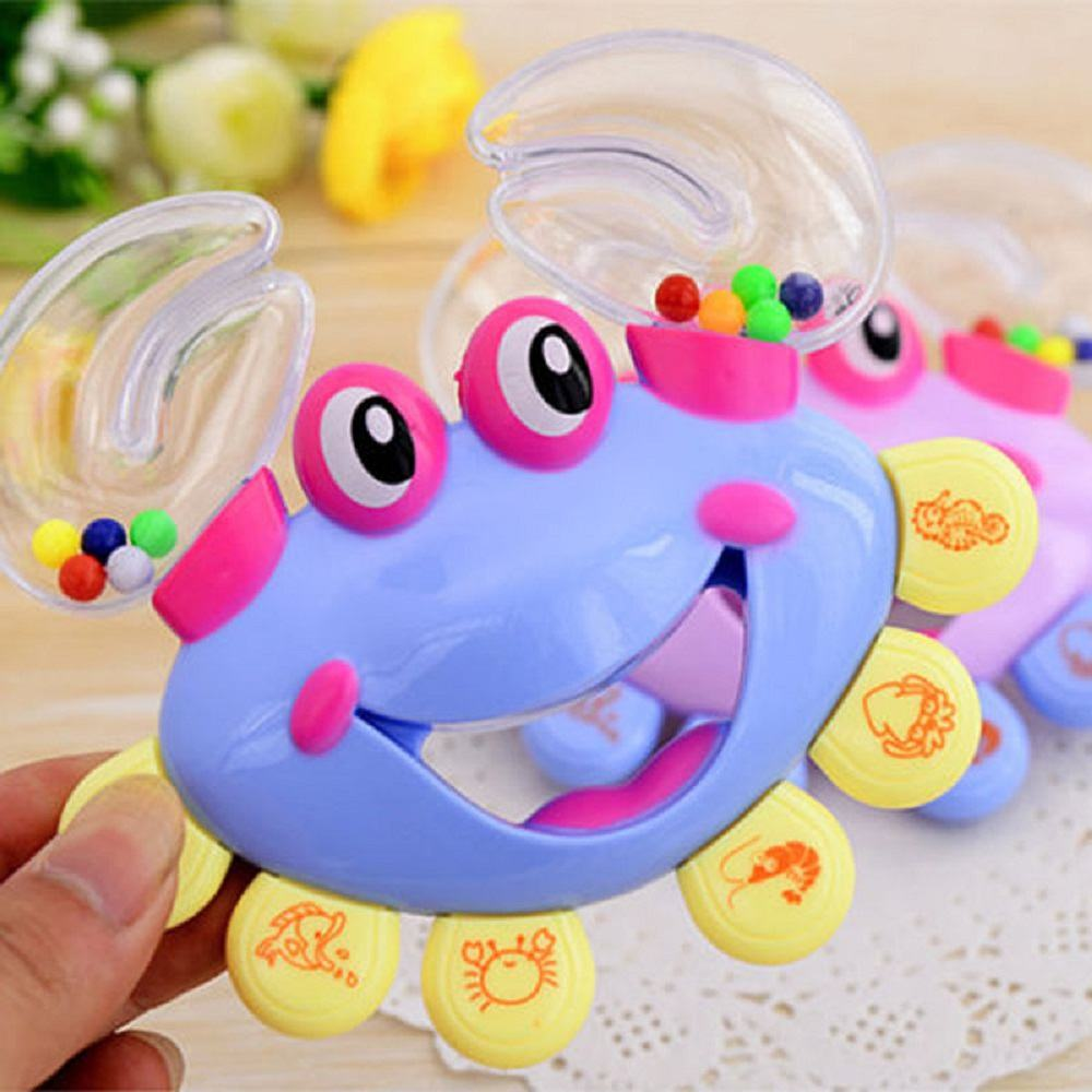 Pink newborn Baby Plastic Crab Handbell Rattle Toy baby   playing