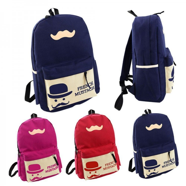Mustache Travel Backpack Pink