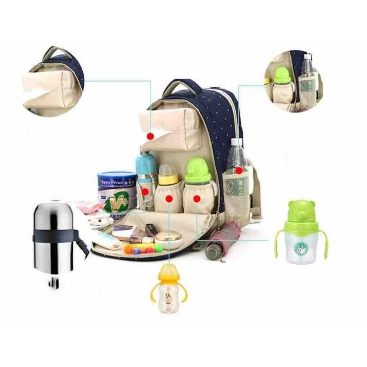 Baby travel Bag Blue with dots