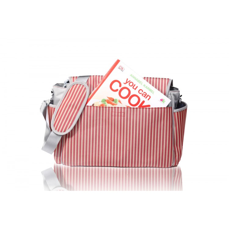 Red and Brown Messager baby bag