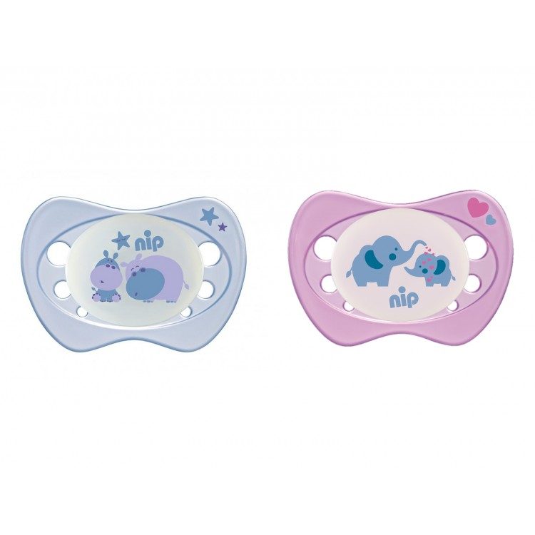 Mamababy.online, Set of 2 Nip Glow soothers Newborn Night Pink 0-6, Soother - Teat, Nip, princess dress, girl dress, party dress, feeding, mother, baby, feeding bottles, baby shoes, swimsuits, summer accessories, t-shirt, maternity, shocks, costumes, nurs