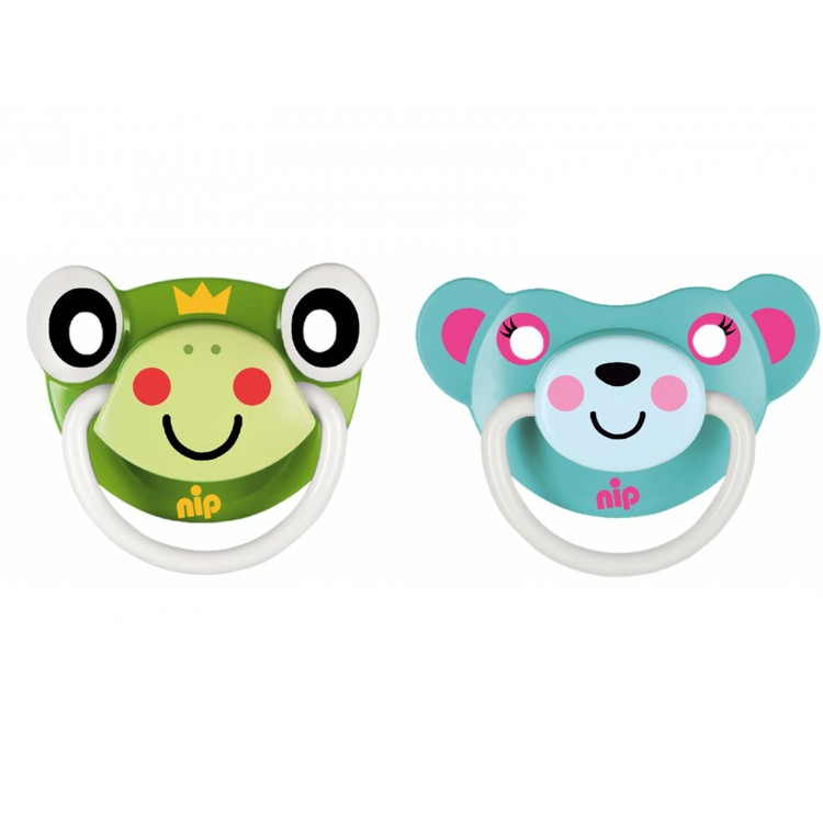 Set of 2 Funny Animals soothers Frog and Bear Pink 6+, princess dress, girl dress, party dress, feeding, mother, baby, feeding bottles, baby shoes, swimsuits, summer accessories, t-shirt