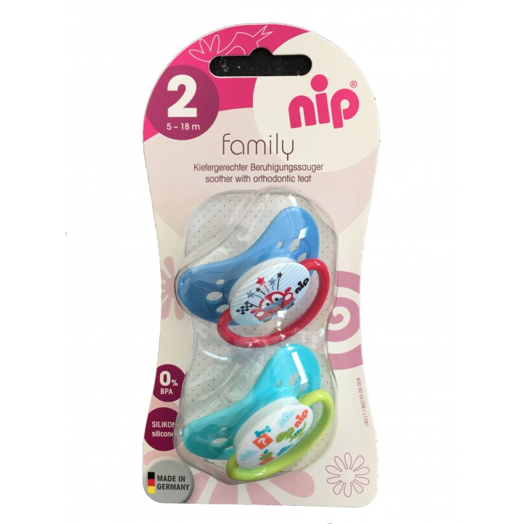 Set of 2 Nip soothers Family Auto and Dino 0-6