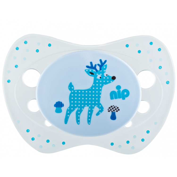Set of 2 soothers Nip Life Deer and Windrad blue 6+
