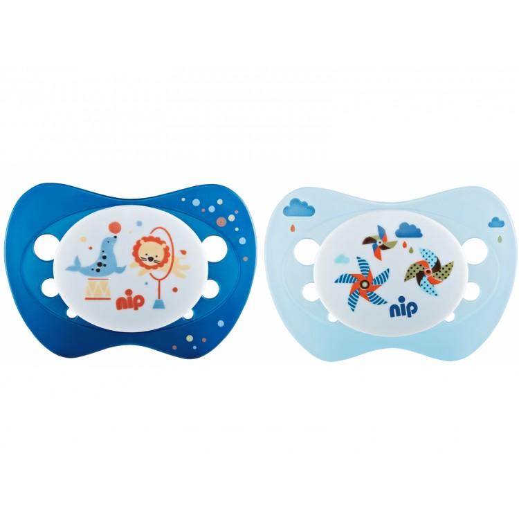 Set of 2 soothers Nip Life Windrad and Circus blue 0-6