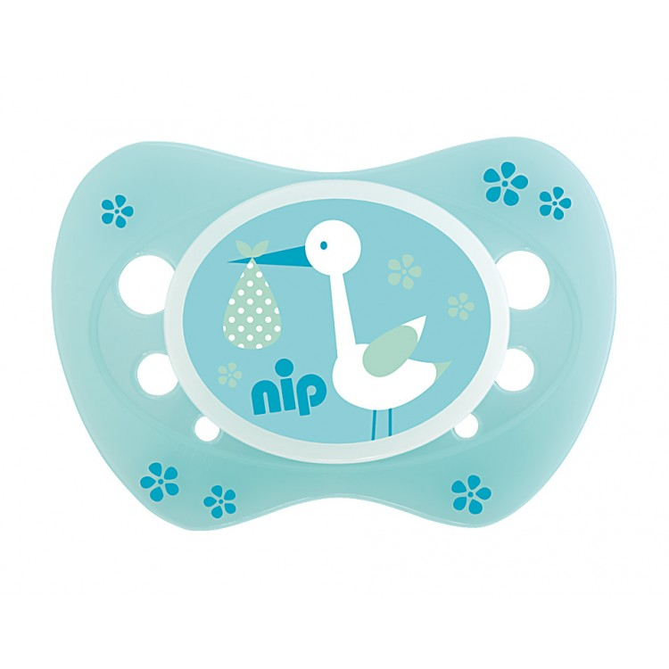 Set of 2 soothers Nip Newborn Storch Green and Teddy Blue 0-6