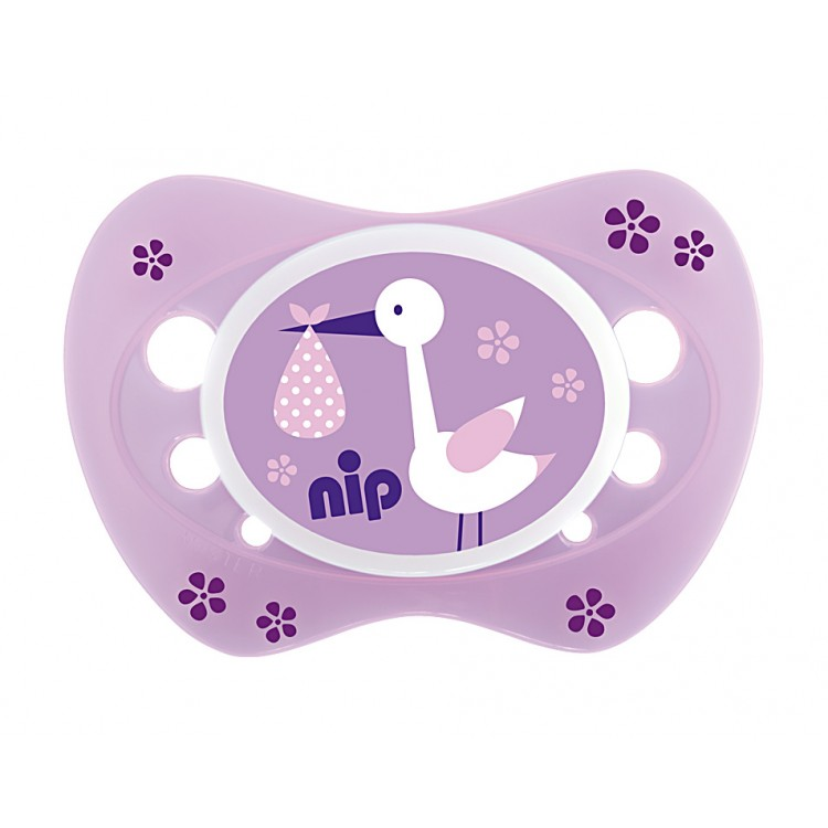 Set of 2 soothers Nip Newborn Storch Purple and Teddy Pink 0-6