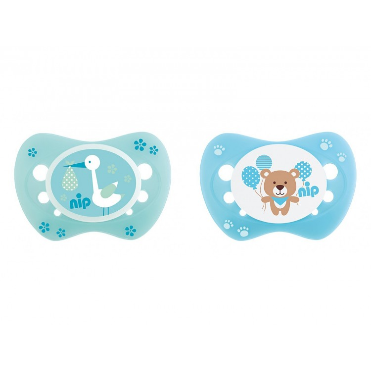 Set of 2 soothers Nip Newborn Storch Green and Teddy Blue 0-6, princess dress, girl dress, party dress, feeding, mother, baby, feeding bottles, baby shoes, swimsuits, summer accessories, t-shirt