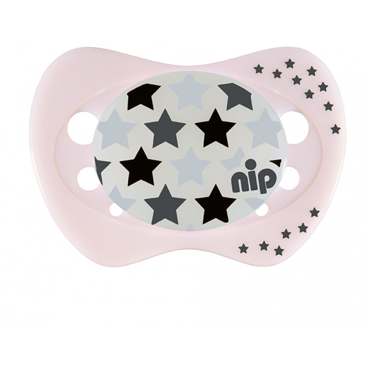 Set of 2 Glow soothers Night Monster and Star Pink 0-6