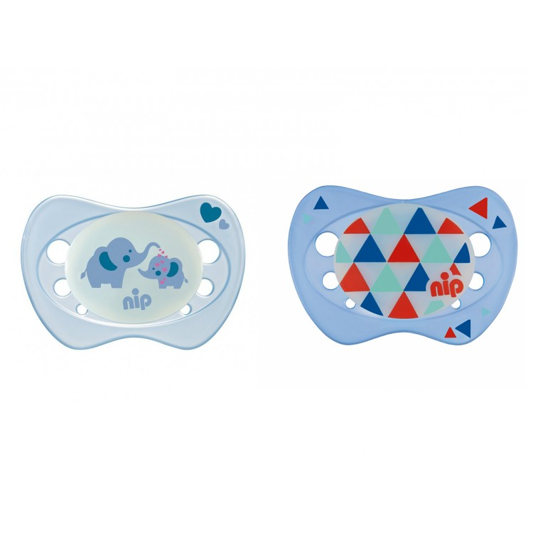 Set of 2 Nip Glow soothers Night Blue and Elephant 6+