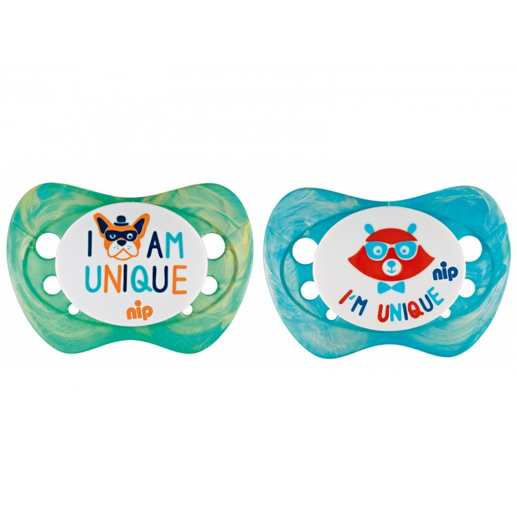 Set of 2 soothers Nip Unique Blue and Green 6+