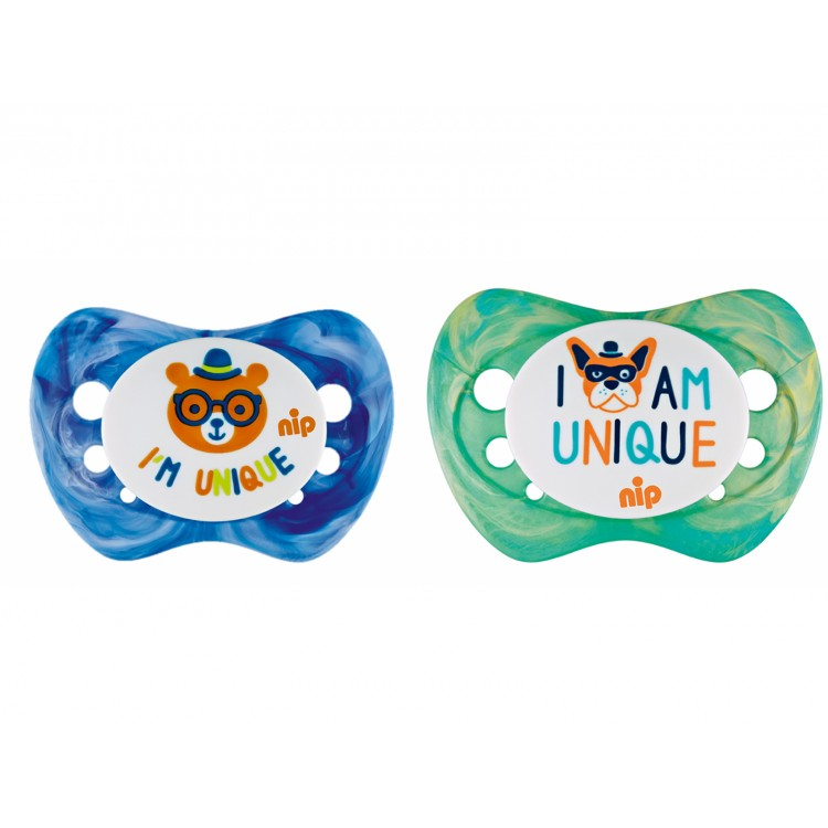 Set of 2 soothers Nip Unique Blue and Green color 0-6