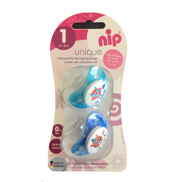 Set of 2 soothers Nip Unique - Blue 0-6