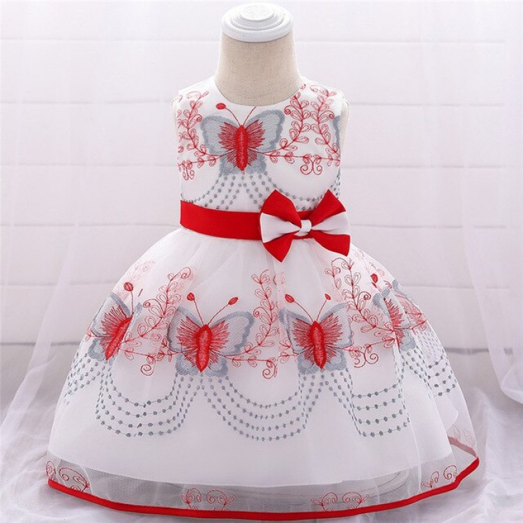 Mamababy.online, Butterfly Dress for Babies White - Red, Princess, Princess dress, princess dress, girl dress, party dress, feeding, mother, baby, feeding bottles, baby shoes, swimsuits, summer accessories, t-shirt, maternity, shocks, costumes, nursing, b