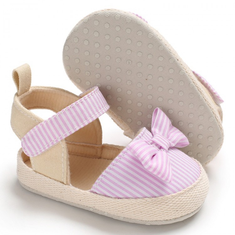 Girl Bowknot Decor Striped Velcro Sandals - Pink