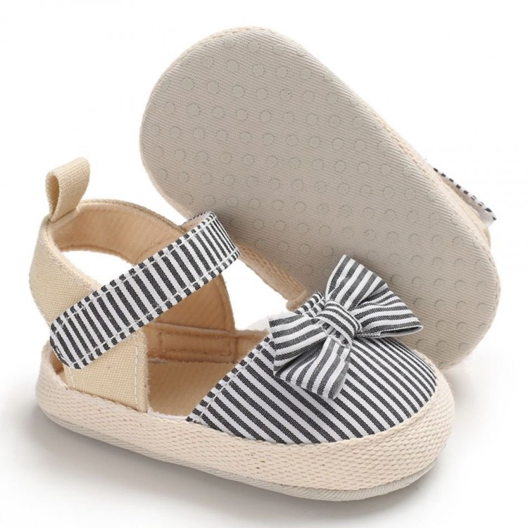 Girl Bowknot Decor Striped Velcro Sandals - Black, princess dress, girl dress, party dress, feeding, mother, baby, feeding bottles, baby shoes, swimsuits, summer accessories, t-shirt