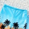 Coconut Tree Print Beach Shorts with Hat Swimsuit