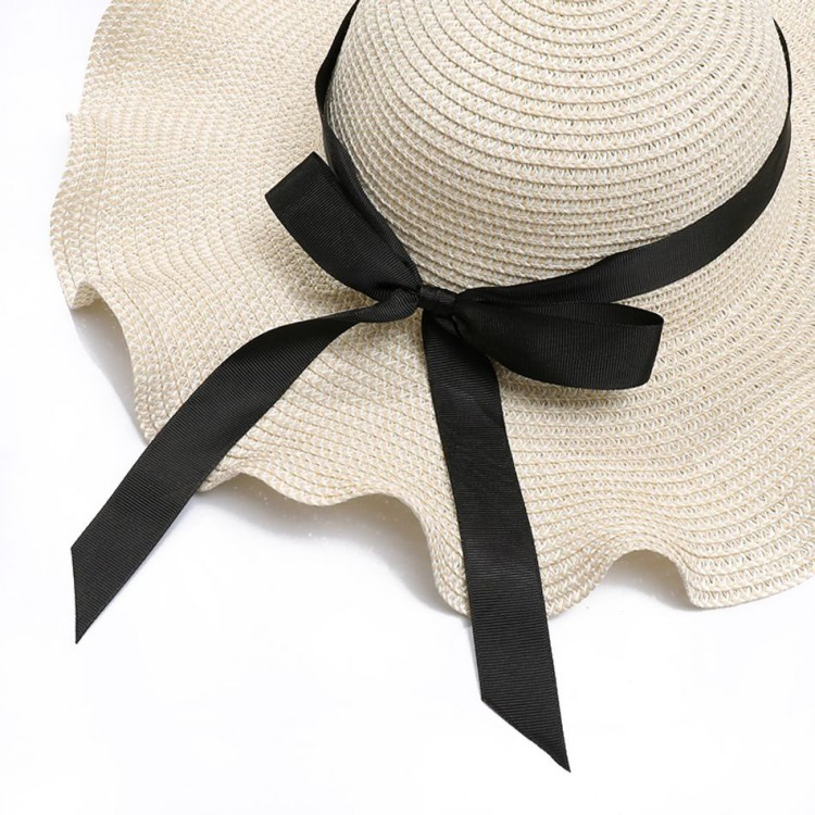 Mommy and Me Black Bowknot Beach Hat - Beige