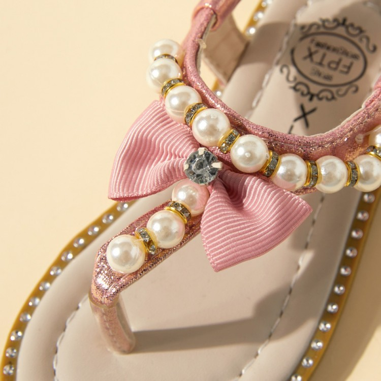 Bowknot Bead Sandals - Pink