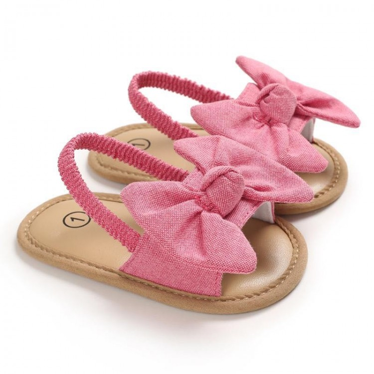 Solid Bowknot Sandals - Hot Pink, princess dress, girl dress, party dress, feeding, mother, baby, feeding bottles, baby shoes, swimsuits, summer accessories, t-shirt