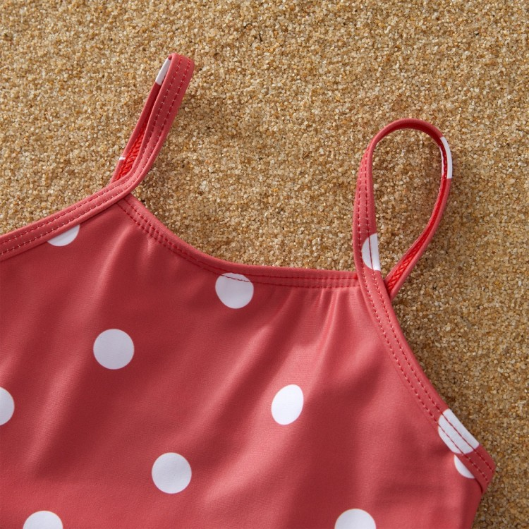 Spot and Striped Family Matching Swimsuit - red
