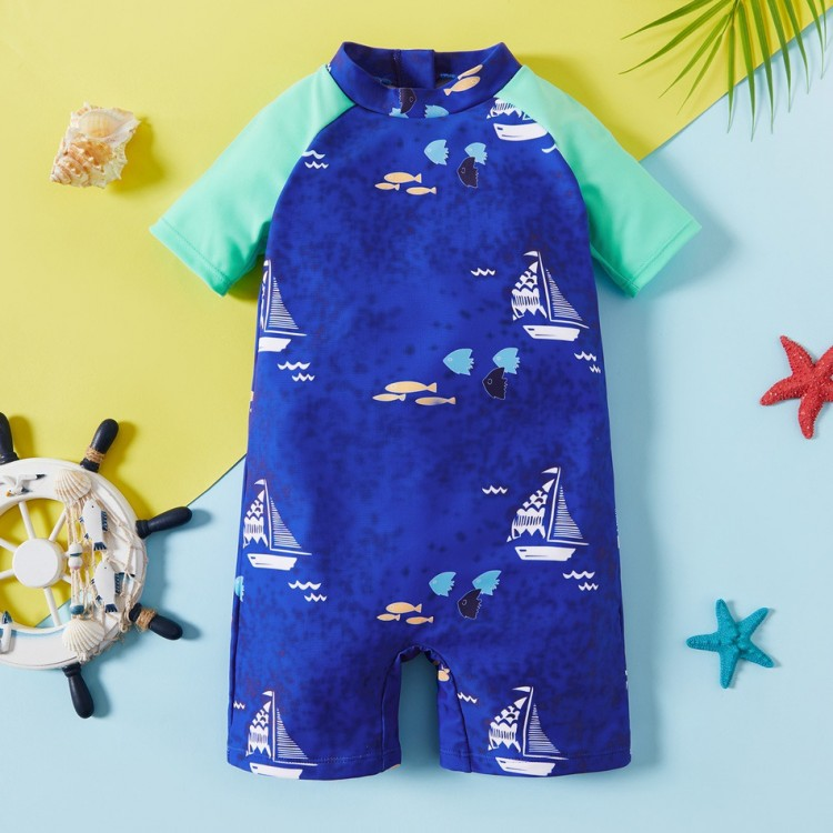 Mamababy.online, Letter Sea Swimsuit - Color block Blue, Boys, babykids, princess dress, girl dress, party dress, feeding, mother, baby, feeding bottles, baby shoes, swimsuits, summer accessories, t-shirt, maternity, shocks, costumes, nursing, bags, mothe