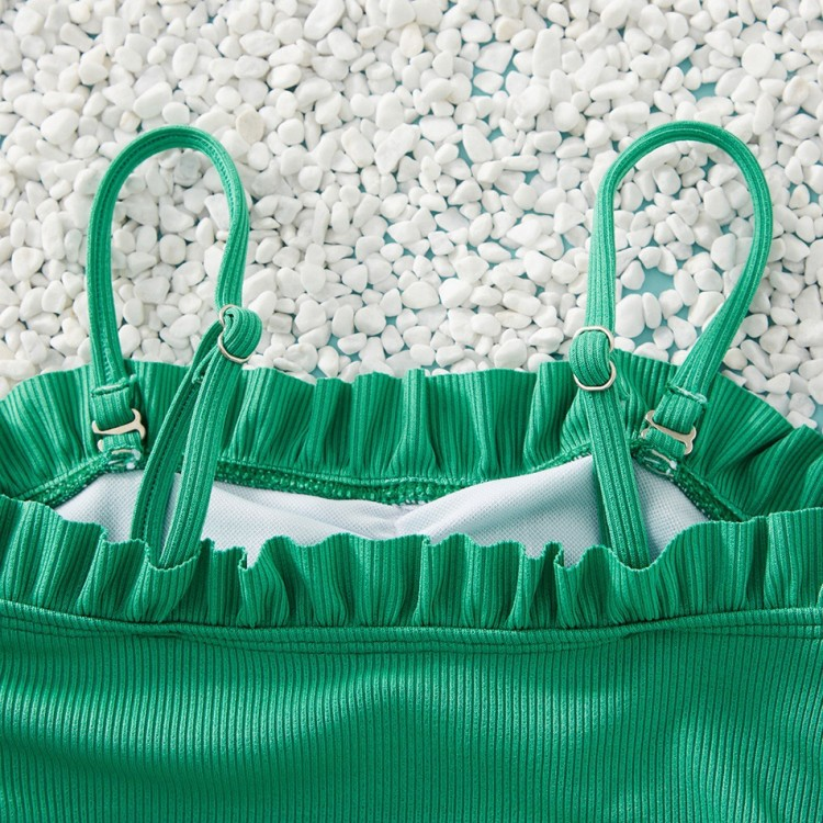Ruffle Decor Hollow Out Solid Matching Swimsuit - Green