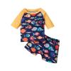 2pcs Baby Boy Long-sleeve Fish Print Swimwear - Orange, princess dress, girl dress, party dress, feeding, mother, baby, feeding bottles, baby shoes, swimsuits, summer accessories, t-shirt