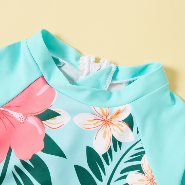 2-piece Girl Floral Long-sleeve and Briefs Swimsuit - Turquoise