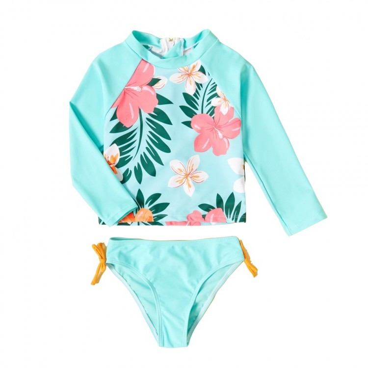 Mamababy.online, 2-piece Girl Floral Long-sleeve and Briefs Swimsuit - Turquoise, Girls, babykids, princess dress, girl dress, party dress, feeding, mother, baby, feeding bottles, baby shoes, swimsuits, summer accessories, t-shirt, maternity, shocks, cost