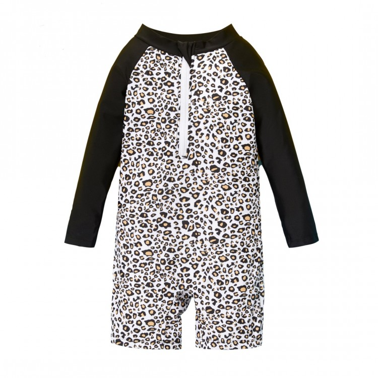 Leopard Print Long-sleeve One piece Swimsuit - Black, princess dress, girl dress, party dress, feeding, mother, baby, feeding bottles, baby shoes, swimsuits, summer accessories, t-shirt