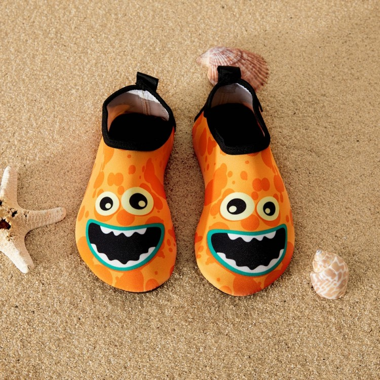 Cartoon Print Athleisure Water Beach Shoes for Toddlers  - Orange