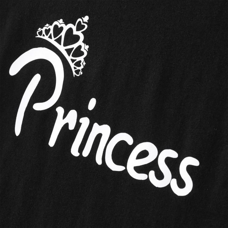 Royal Crown Print Family Matching Cotton T-shirts Black, princess dress, girl dress, party dress, feeding, mother, baby, feeding bottles, baby shoes, swimsuits, summer accessories, t-shirt