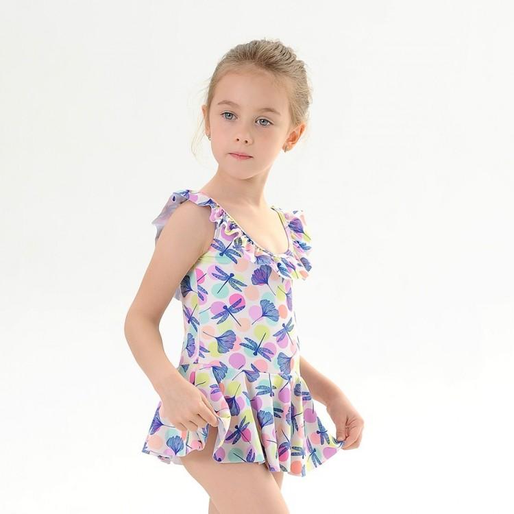 Colorful Dragonfly Print Ruffle Collar Swimsuit with hat