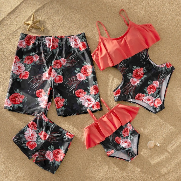 Flounce Floral Print Matching Family Swimsuit