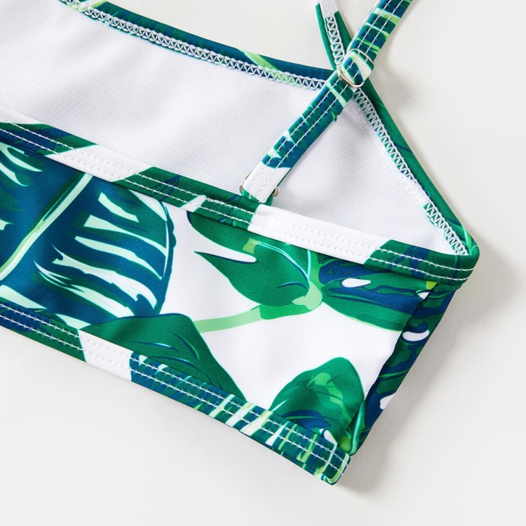 Breezy Palm Leaf Charm Matching Swimsuit for mother and daughter
