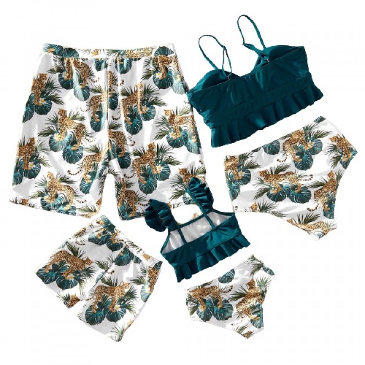 Jungle Tiger Print Matching Swimsuit Turquoise