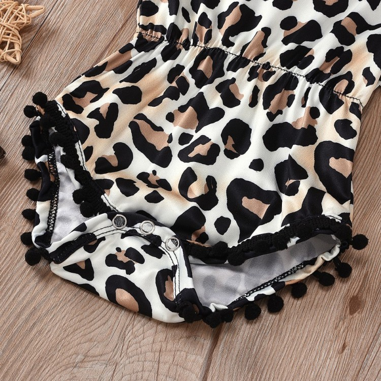 Baby Leopard Print rompers and headband Set