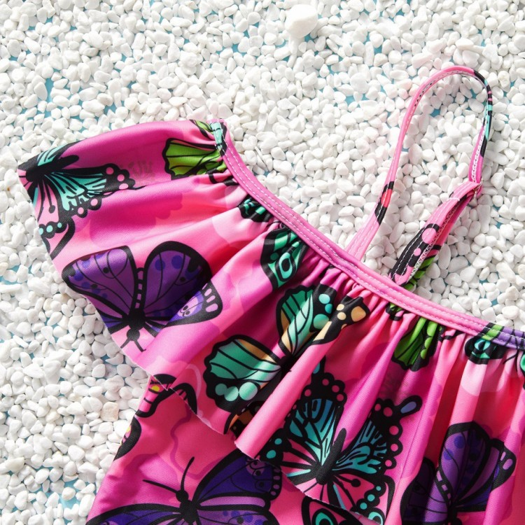 Butterfly Suspender Ruffled Swimsuit - Dark Pink, princess dress, girl dress, party dress, feeding, mother, baby, feeding bottles, baby shoes, swimsuits, summer accessories, t-shirt