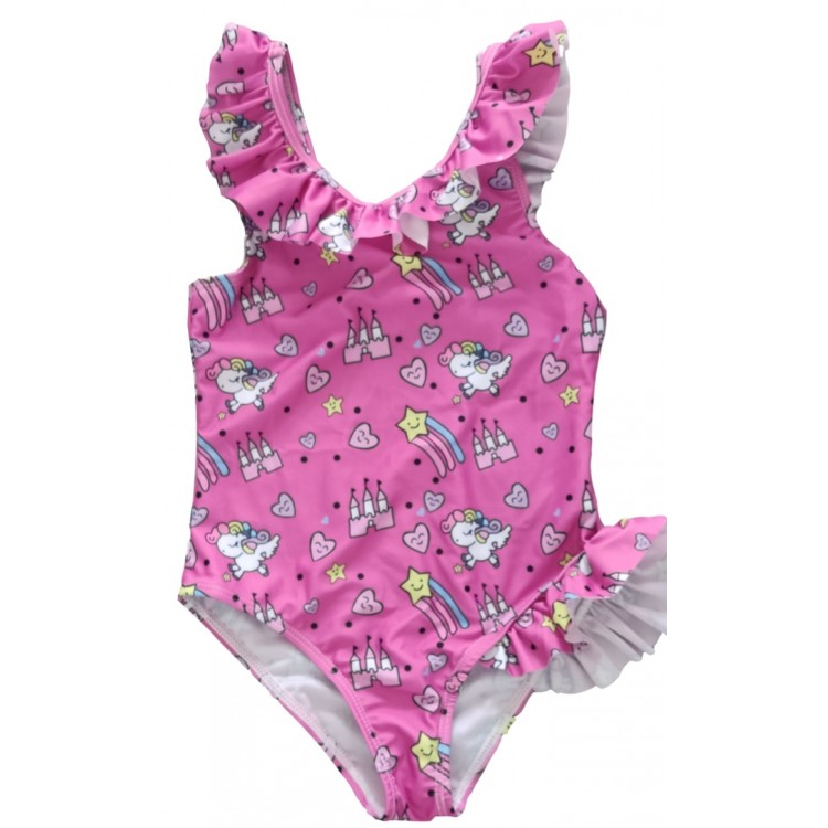 Trendy Love Allover Print Ruffled Swimsuit Pink, princess dress, girl dress, party dress, feeding, mother, baby, feeding bottles, baby shoes, swimsuits, summer accessories, t-shirt