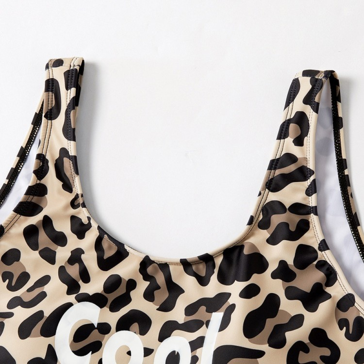 Cool Summer Leopard Print Swimsuit for mother and daughter