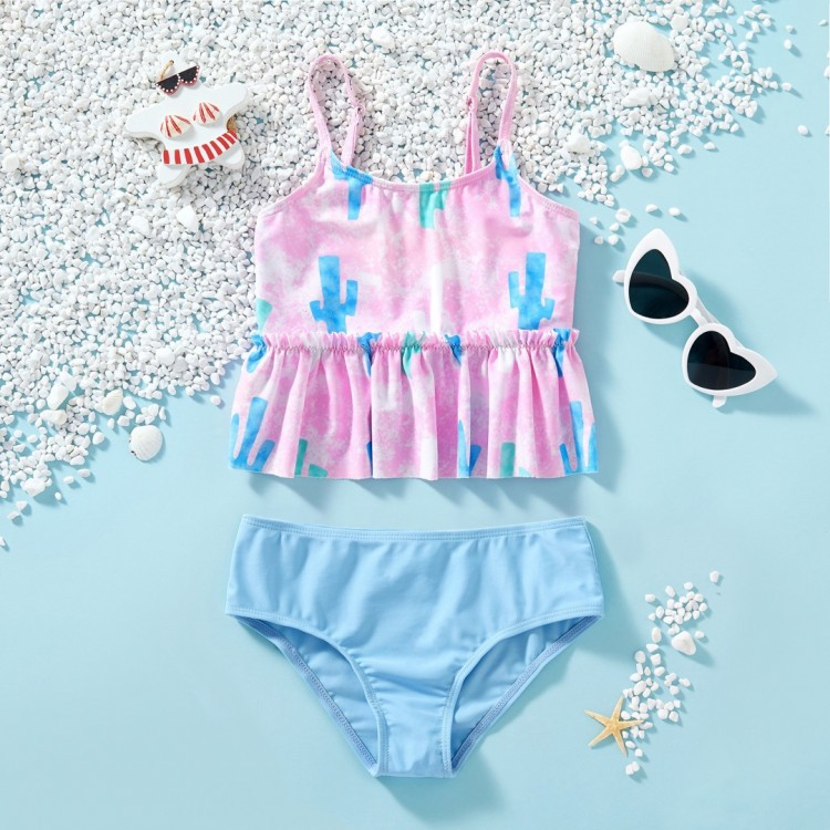 2-piece Cactus Print Swimsuit Light Blue, princess dress, girl dress, party dress, feeding, mother, baby, feeding bottles, baby shoes, swimsuits, summer accessories, t-shirt