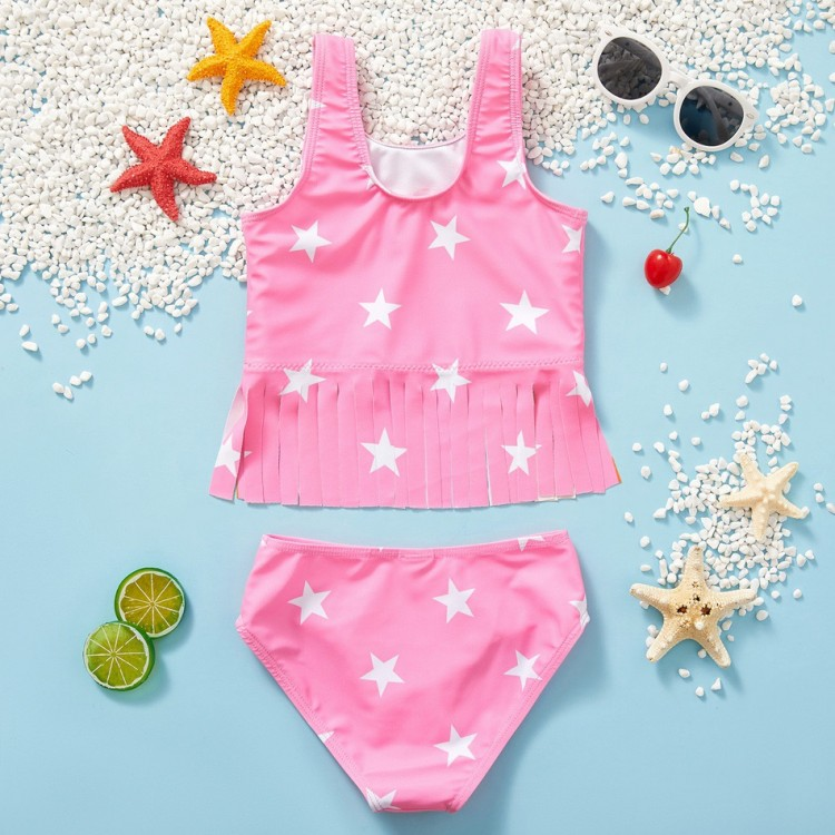 2pcs Girl Rainbow and Stars Swimwear, princess dress, girl dress, party dress, feeding, mother, baby, feeding bottles, baby shoes, swimsuits, summer accessories, t-shirt