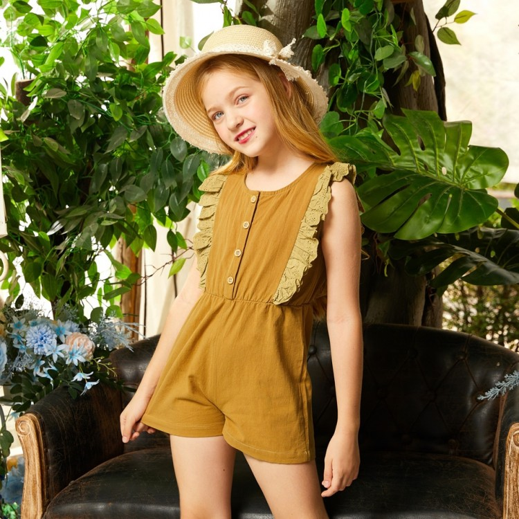 Girl Solid Sleeveless Rompers -  Yellow