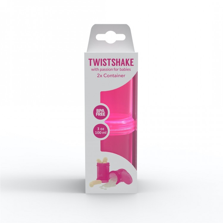 Mamababy.online, Twistshake Container 2x 100ml Pink, Baby Bottles, twistshake, princess dress, girl dress, party dress, feeding, mother, baby, feeding bottles, baby shoes, swimsuits, summer accessories, t-shirt, maternity, shocks, costumes, nursing, bags,