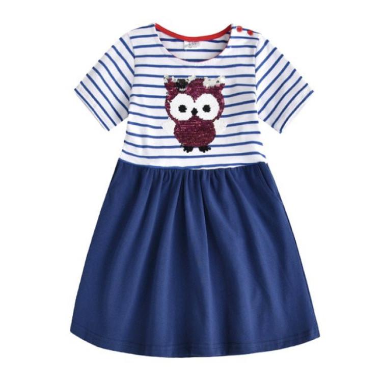 Girl Dress Blue Owl, princess dress, girl dress, party dress, feeding, mother, baby, feeding bottles, baby shoes, swimsuits, summer accessories, t-shirt