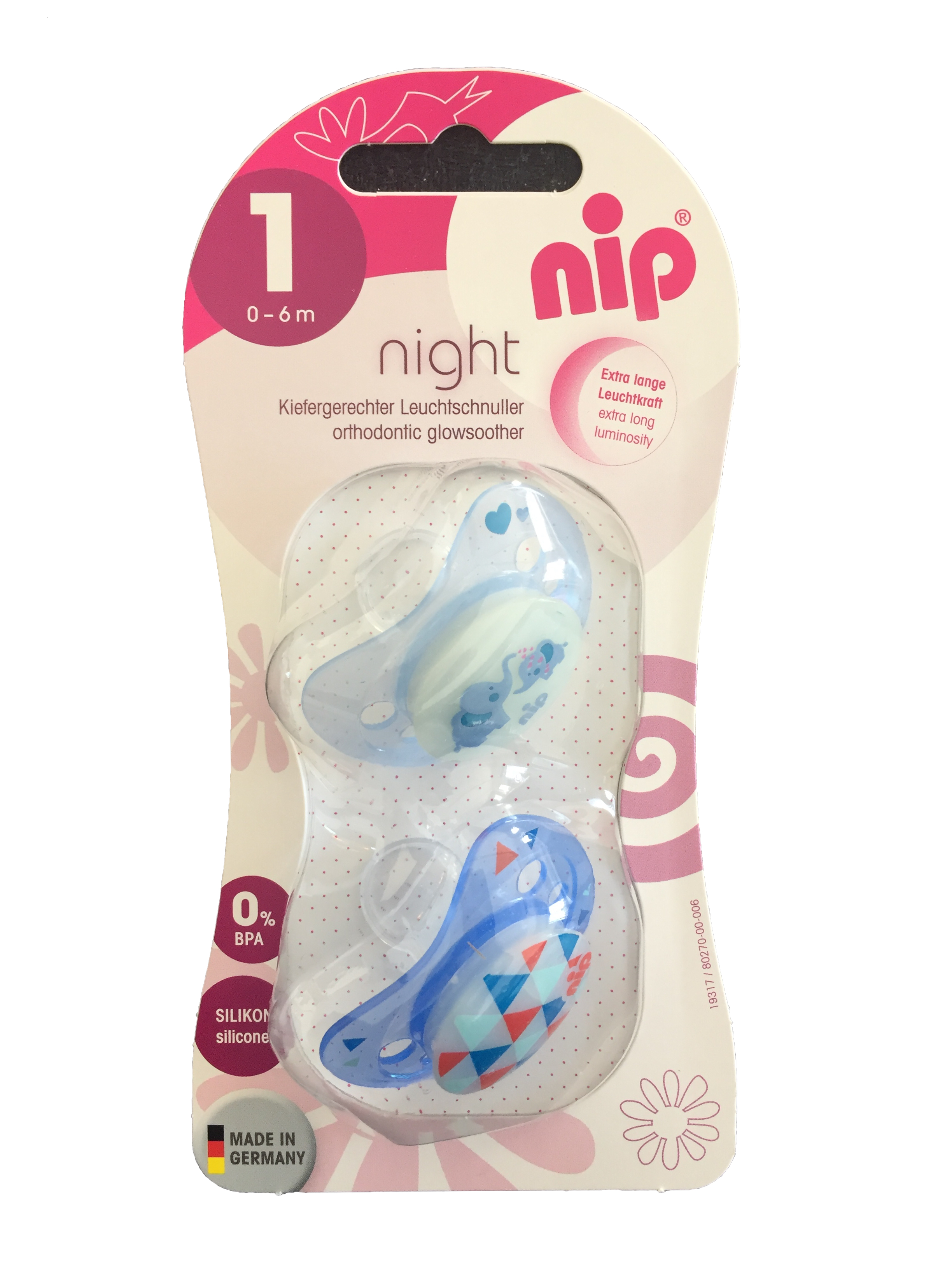 Set of 2 Glow soothers Night Blue and Elephant