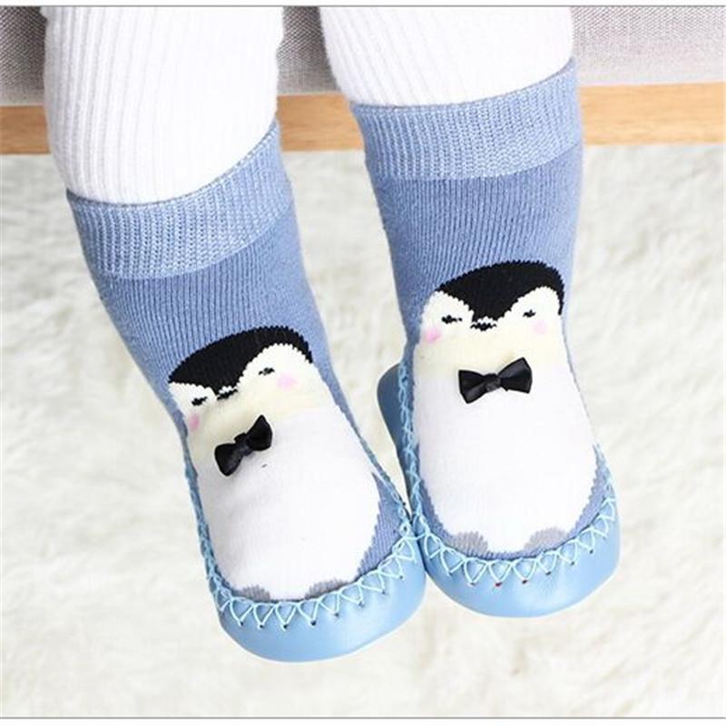 Anti-slip Floor Wear Socks Light Blue Penguin