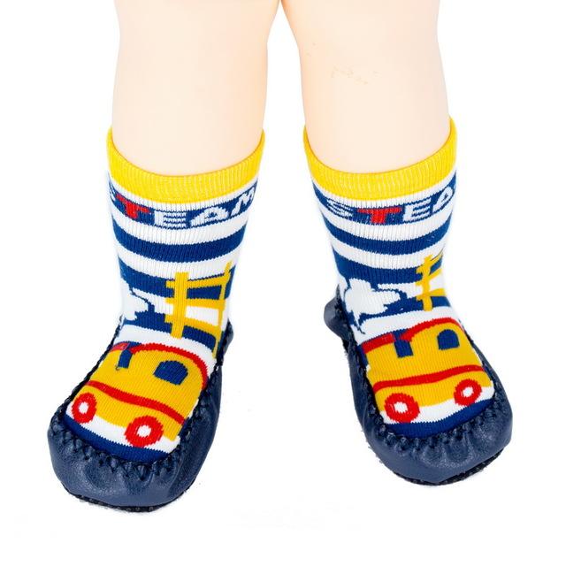 Anti-slip Floor Wear Socks Blue Car